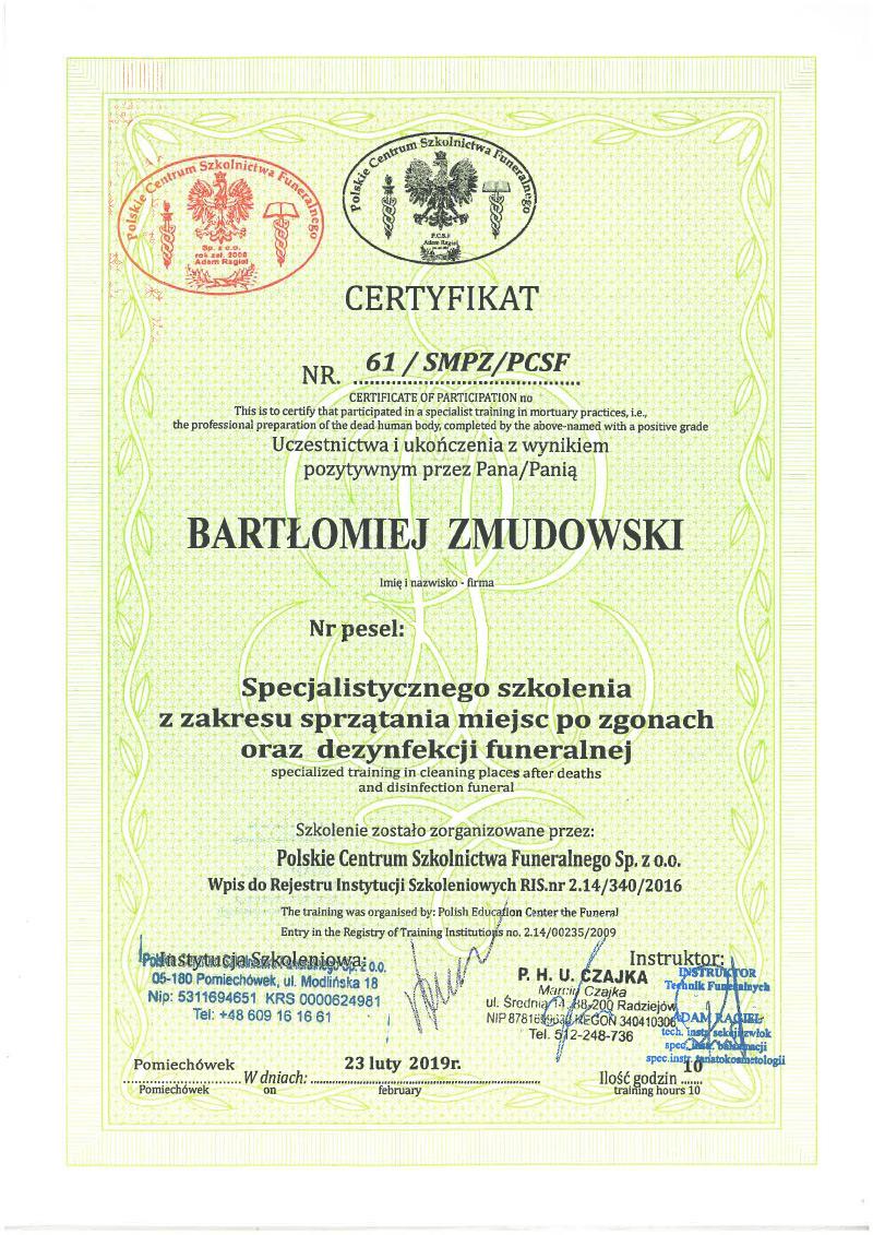 Certyfikat - Sprzątanie miejsc po zgonach